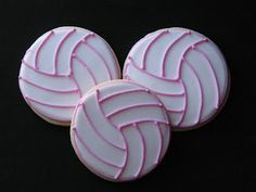 Bake Sale Pink Lined Volleyball Cookie