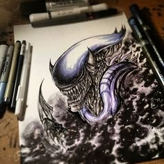 How incredible is this fanart piece by @vicab24 using his Chameleon Pens?! #chameleonpens #pen #marker #alcoholmarkers #fanart #art #artwork #xenomorph #alien #alienart #character #colour #color #colouring #coloring #blends #onepenblends