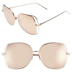 Women's Linda Farrow 61Mm Mirrored 18 Karat Rose-Gold Sunglasses (19.610 ARS) ❤ liked on Polyvore featuring accessories, eyewear, sunglasses, rose gold, rose gold sunglasses, lens glasses, linda farrow glasses, linda farrow eyewear and linda farrow