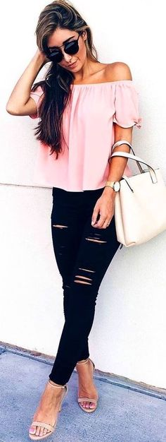 #Summer #Outfits Pink Off The Shoulder Top + Ripped Jeans