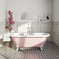 The Bath Co. Victoria rose coloured bath with Hampshire shower bath mixer tap Colorful Bath, Roll Top Bath, Kitchen And Bathroom Paint, Bath Mixer Taps, Shower Bath, Kitchens Bathrooms, Painting Bathroom, Free Standing Bath, Black Bathroom