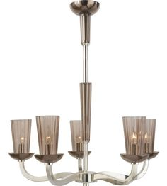 Visual Comfort Barbara Barry All Aglow Small All Aglow Chandelier in Soft Silver with Amethyst Glass BBL5026SS-AMT