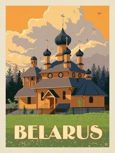 Anderson Design Group – World Travel – Belarus - Vintage Quotes Art Deco Posters, Vintage Travel Posters, Vintage Postcards, Gig Poster, Poster Prints, Photo Vintage, Travel Illustration, Digital Illustration, Voyage Europe