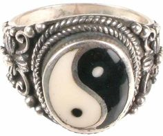 Yin and Yang- because things in life are not completely black or white, and they cannot exist without each other. Cute Jewelry, Jewelry Rings, Jewelry Box, Jewelry Accessories, Jewellery, Yin Yang Art, Chokers, Rings For Men, Silver Rings