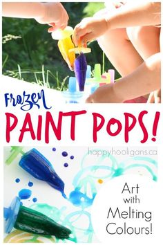 Frozen Paint Pops - a fun and colourful outdoor art activity for toddlers and preschoolers - Happy Hooligans Frozen Paint Pops - a fun and colourful outdoor art activity for toddlers and preschoolers - Happy Hooligans Art Activities For Toddlers, Outdoor Activities For Kids, Summer Activities, Learning Activities, Baby Activities, Creative Activities, Creative Ideas, Teaching Ideas, Preschool Art