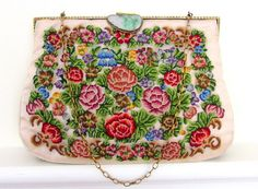 1940s Needlepoint Purse with Carved Jade Clasp / by RiffRaffGentry, $65.00