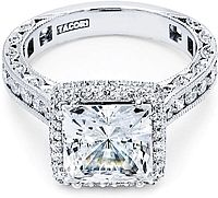 Tacori RoyalT Princess Cut Halo Diamond Engagement Ring