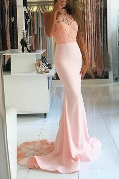 Prom Dress Fitted, Mermaid High Nack Sweep Train Pink Satin Prom Dress with Beading There are delicate lace prom dresses with sleeves, dazzling sequin ball gowns, and opulently beaded mermaid dresses. Pink Prom Dresses, Prom Party Dresses, Mermaid Dresses, Homecoming Dresses, Evening Dresses, Bridesmaid Dresses, Formal Dresses, Dress Prom, Lace Mermaid