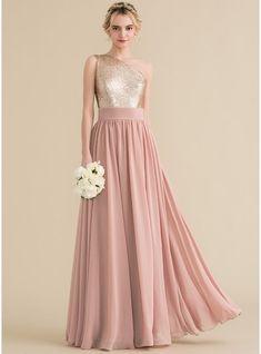 736966e9709c7 [ 135.99] A-Line/Princess One-Shoulder Floor-Length Chiffon Sequined Bridesmaid  Dress (007131066)