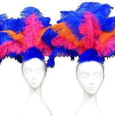 Budget Feather Showgirl Headdress Dress Up Costumes, Cute Costumes, Costume Ideas, Foam Wigs, Showgirl Costume, Rio Carnival, Ostrich Feathers, Halloween 2017, Showgirls