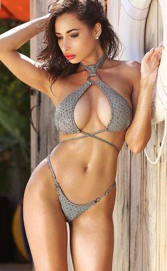 bbcfdde9e44 Cheeky brazilian mini bikini Sexy micro two piece swimsuit Set high cut leg  bottom & high neck bra B