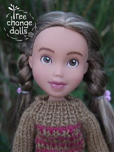 This is a one-of-a-kind, repainted, restyled, second-hand, upcycled, made under doll.  Tree change dolls.