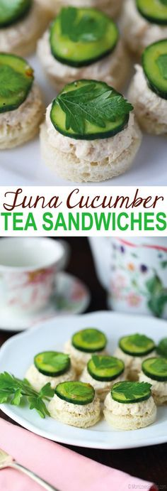 Tuna Cucumber Tea Sandwiches mini bread rounds with tuna salad and cucumbers are part of a sponsored post written by me on behalf of BumbleBeeSeafoods AD OnlyAlbacore Cucumber Tea Sandwiches, Tea Party Sandwiches, Finger Sandwiches, Tea Sandwich Recipes, Picnic Recipes, High Tea Food, Afternoon Tea Parties, Afternoon Tea Recipes, Snacks Für Party