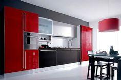 Сочетание цвета в интерьере: красный, черный, белый