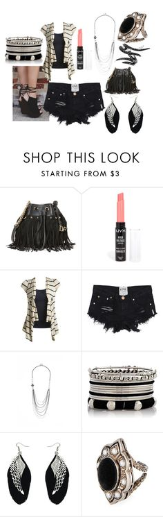 """""""Black, White, & Silver Outfit"""" by taishacasimir ❤ liked on Polyvore featuring Diane Von Furstenberg, NYX, Wet Seal, GUESS, Gucci and AS29"""