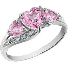 Created Pink Sapphire Heart Ring with Diamonds 1.53 Carat (ctw) in 10K... ($249) ❤ liked on Polyvore featuring jewelry, rings, accessories, anillos, heart jewelry, heart diamond ring, diamond jewellery, heart shaped rings and white gold heart ring