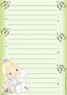 Papéis de Carta e Envelopes - Papel de Carta e Envelope - Papel de Carta e Envelope para imprimir: Preciosos Momentos - Precious Moments