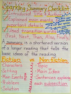 Sparkling Summary Anchor Chart                                                                                                                                                      More