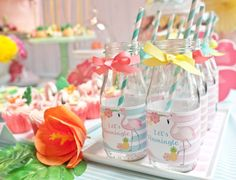 Glass drink bottles from Spring Flamingo Birthday Party at Kara's Party Ideas. See more at karaspartyideas.com!