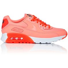 Nike Women's Air Max 90 Ultra Essential Sneakers ($115) ❤ liked on Polyvore featuring shoes, sneakers, orange, orange shoes, leather low top sneakers, lace up sneakers, leather flat shoes and leather shoes