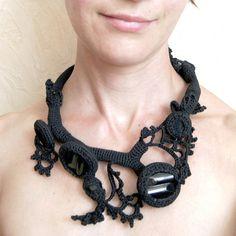 Evgeniya Bobrova-RUSSIA  Freeform crocheted necklace mystic black 1 (by Jane Bo on Etsy)