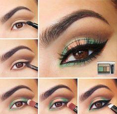 Tutorial para ojo verde y naranja | http://fotos.soymoda.net/tutorial-para-ojo-verde-y-naranja/