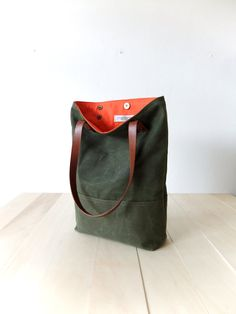 Waxed Canvas Tote in Military Green Brown Leather by metaphore, $89.00