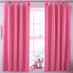 Pink Plain Tab Top Lined Children's Blackout Curtains (W)168cm (L)137cm