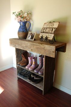 I love the idea of making an old shelf into a boot and shoe stand...just what I need