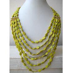 Statement Necklace Lemon Green/Multi Strand Necklace/Chunky Necklace/Beaded Necklace/Bib Necklace/Beaded Jewelry. $27.10, via Etsy.