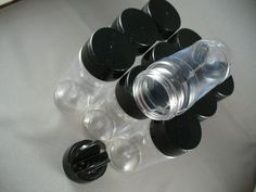 Spice Bottles Jars 4Oz Clear Lot Of 10 Black Dual Sifter Spoon Cap Free Shipping