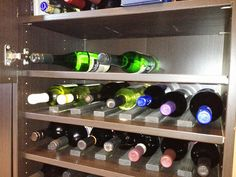 DIY built in minibar could be a piece of dream furniture that serves well different designs and functions at high quality of space saving as well as Liquor Cabinet Ikea, Liquor Storage, Besta Hack, Ikea Hackers, Dream Furniture, Cool Furniture, Furniture Ideas, Ikea Wine Rack, Bronze Pendant Light