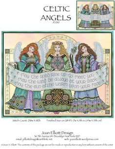 Celtic Angels JE010 cross stitch chart Joan Elliott Designs $14.00