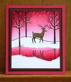 White Christmas setI decided today to go for a frozen pond look, with a pink sunset sky. To make this card, I used the following steps: 1. Stamp the deer onto the focal panel, in the center. Also stamp the deer onto a post it and cut it out for a mask. Mask the deer. 2. Stamp the trees over the deer mask. 3. Repeat the process for the reflection, stamping first onto a piece of clear plastic and then flipping it onto the white cardstock, rubbing the back to ...