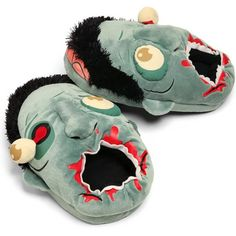 I must have these ZOMBIE SLIPPERS!  Let them nom on your feet while you walk Wear them when you're a half-awake zombie. http://nerdlooter.com/product/think-geek-zombie-plush-slippers/