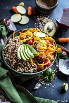 This is the richest most delicious quinoa bowl I have made! The butternut squash gives it a ton of flavor and the avocado offers a rich and creamy texture.