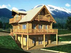 Log Houses House Plan with 1923 Square Feet and 3 Bedrooms from Dream Home Source   House Plan Code DHSW58877