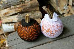 No carve lace pumpkins. More ideas @BrightNest Blog