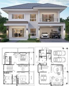 House design plan with 4 bedrooms. Style modernHouse description:Number … House design plan with 4 bedrooms. Style modernHouse description:Number of floors 2 storey. 4 Bedroom House Designs, 4 Bedroom House Plans, Bungalow House Design, House Front Design, Modern House Design, Duplex House Plans, Design Bedroom, New House Designs, Modern Bungalow