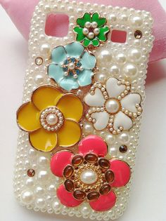 HTC Sensation XL X315 Handmade Bling Charms Pearls Rhinestones Colorized Alloy Lovely Flowers Hard Phone Case Cover Skin