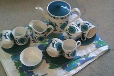 Johnsons Bros 'Snowite Valetta' '70's Perfect condition. 6 cups & saucers, tea/coffee pot, milk/cream jug & sugar bowl. £45