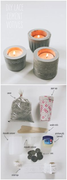 DIY LACE CEMENT VOTIVES :: These are made using paper cuts and lace tape...which can be purchased on Etsy relatively inexpensively....