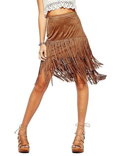 Lingswallow Women's Suede Tassel Fringe Brown High Waist Long Pencil Skirt at Amazon Women's Clothing store: