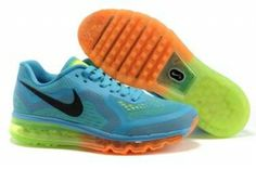 new product 28f88 4c7ed Shop New Release Womens Nike Air Max 2014 Mesh Blue Black Orange black, grey,  blue and more.