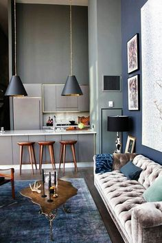 Dark blue and taupe