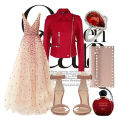 """Tasty red"" by pinupbaby ❤ liked on Polyvore featuring Versus, Monique Lhuillier, Valentino, Gianvito Rossi and Christian Dior"