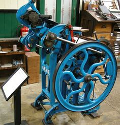 Arab patent platen machine in printing gallery at Bradford Industrial Museum, Bradford, West Yorkshire, England.