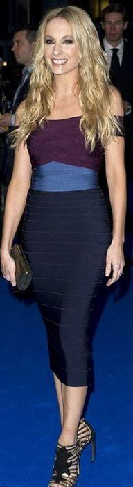 Joanne Froggatt: Dress – Herve Leger  Shoes – Walter Steiger  Purse Jimmy Choo