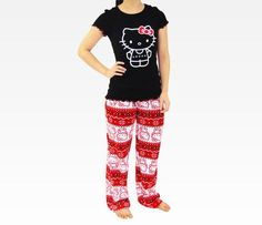 Hello Kitty Adult Red PJ Set: Holiday