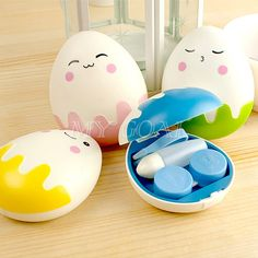 Perfect for Easter ! Contact Lens Cases, Change Your Eye Color, Cute Egg, Halloween Contacts, Cosmetic Box, Easter Chocolate, Egg Shape, Cute Cases, Colored Contacts